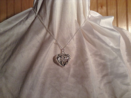 Silver Filigree Heart Pendant Necklace Lobster Clasp Closure