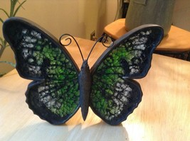 Green mosaic glass and colored standing sparkly butterfly will reflect lights image 2
