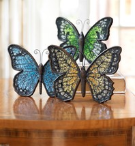 Green mosaic glass and colored standing sparkly butterfly will reflect lights image 8