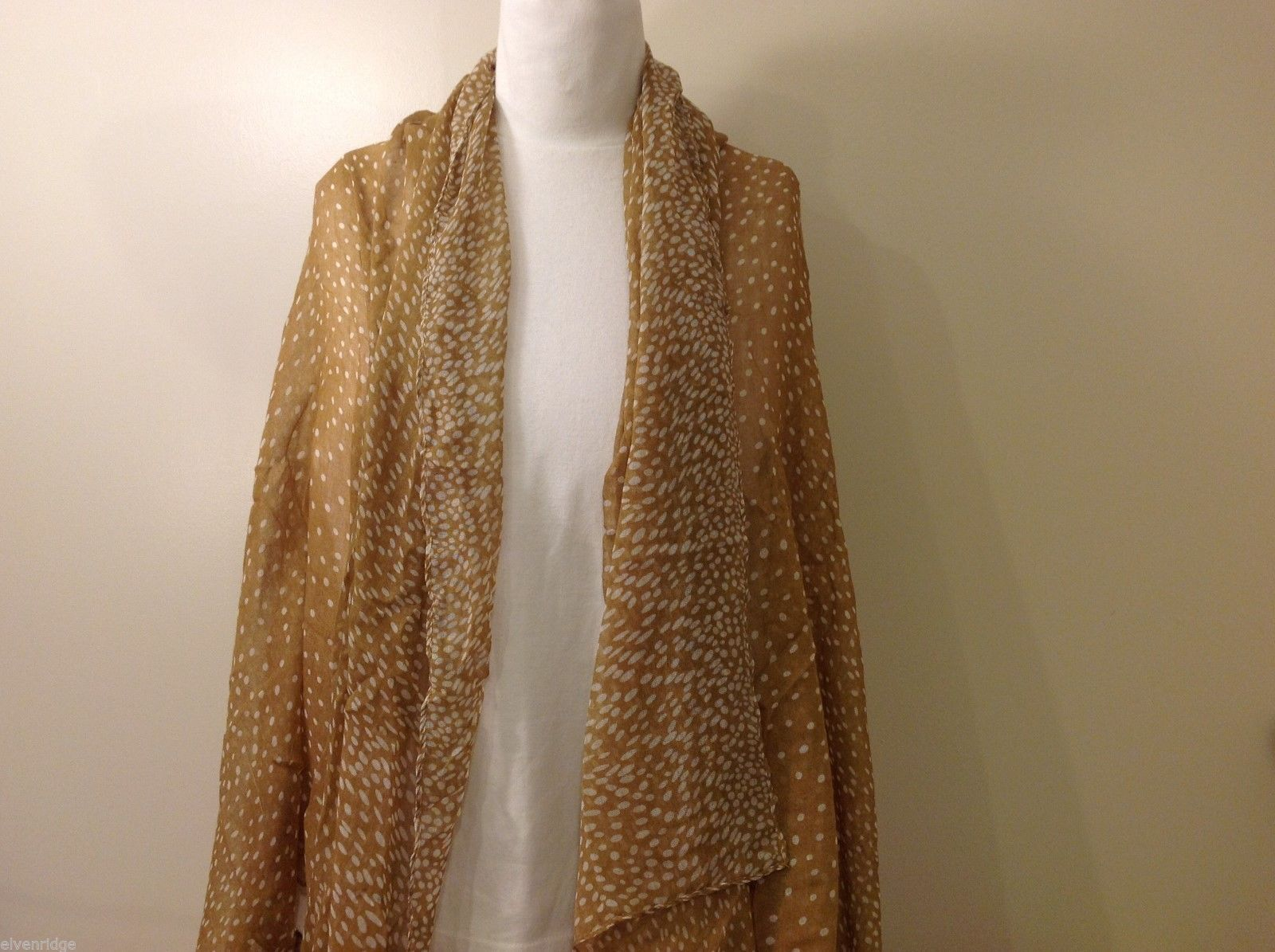 Tan and White Modern Abstract  Polka Dotted Scarf, New!