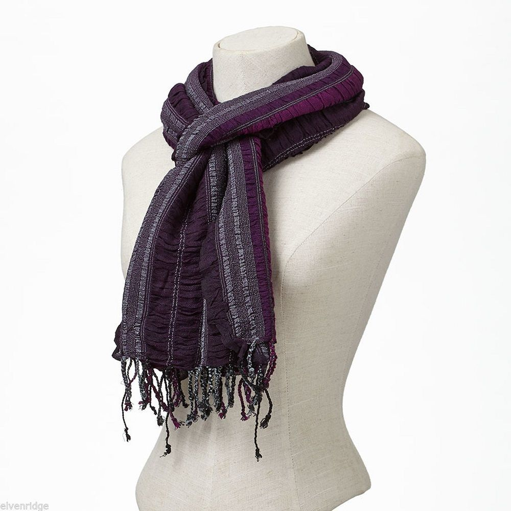 Tonal Plum Purple Striped Scarf Soft Viscose NEW