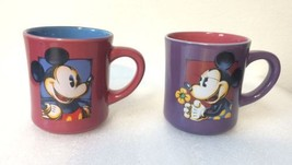 Pair of Standard Size Mickey & Minnie Mouse Coffee Mugs Disney Purple Pi... - $19.30