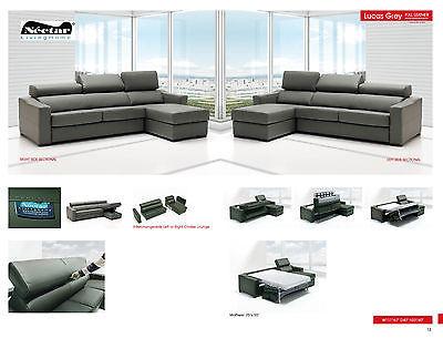 Lucas Full Gray Leather Living Room Sleeper Sofa Chic Modern Contemporary Spain