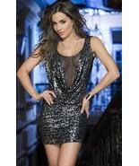 Mesh Drape Cowl Neck Metallic Leopard Print Tank Dress Clubwear Espiral ... - $21.99