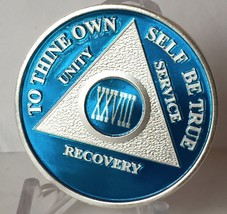 Blue Silver Plated 28 Year AA Chip Alcoholics Anonymous Medallion Coin - $20.39
