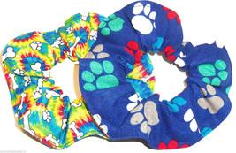 2 Blue Rainbow Paw Prints Dog Bones Fabric Hair Scrunchies by Sherry - $13.95