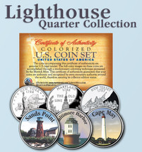 Historic American * LIGHTHOUSES * Colorized US Statehood Quarters 3-Coin... - $9.95