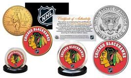 CHICAGO BLACKHAWKS 2-Coin Set JFK Half Dollar & Gold State Quarter NHL L... - $10.95