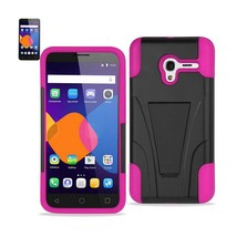 Reiko Alcatel Onetouch Pixi 3 Hybrid Heavy Duty Case With Kickstand In Hot Pink - $8.36