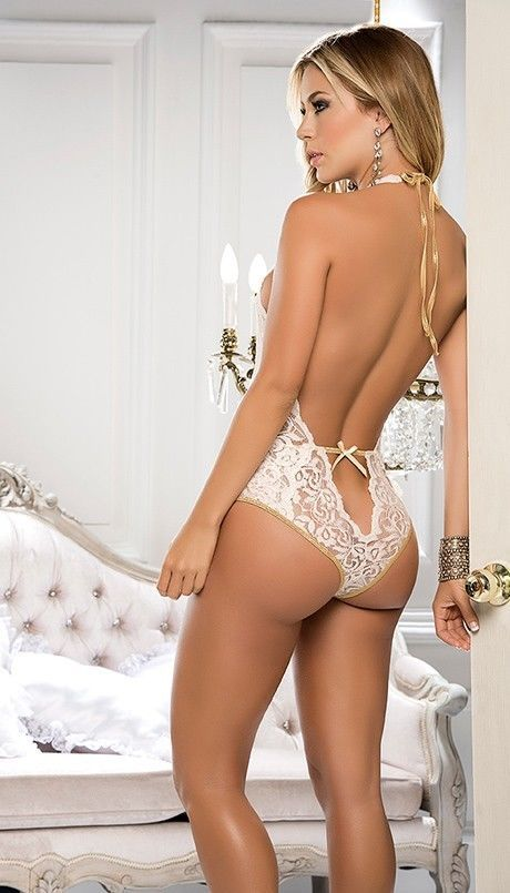 Mapale Halter Neck Plunging Lace Teddy Lingerie 8133
