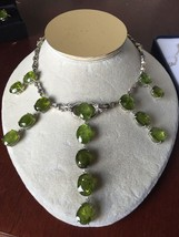 Custom Huge VS 150 ct peridot diamond 14k white gold Choker Fringe neckl... - $29,999.99