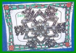 Christmas PIN #0179 Snowflake Marcasite & Crystals Silvertone Holiday Br... - $49.45