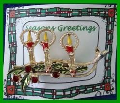 Christmas PIN #0259 VTG Triple Candle Enamel & Goldtone Advent-Holly-Rhi... - $29.65
