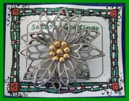 Christmas PIN #0194 Pewter/Silvertone Poinsettia wGoldtone Center HOLIDA... - $24.70