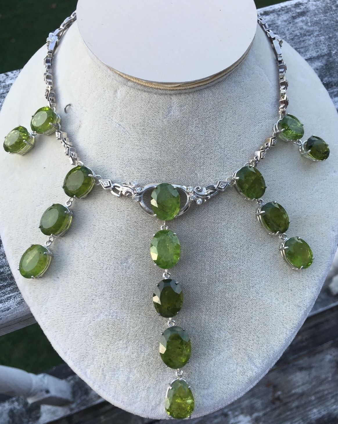 Custom Huge VS 150 ct peridot diamond 14k white gold Choker Fringe necklace 14in