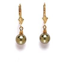 14K Solid Yellow Gold Genuine Green Pearl Dangle Earrings ER-L105 - $55.77