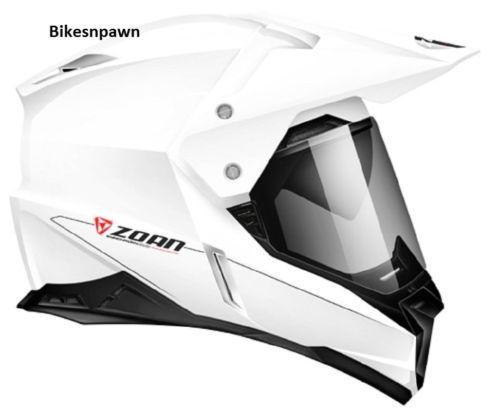 XS Zoan Synchrony Dual Sport White Motorcycle Helmet w/ Sun Shade 521-403