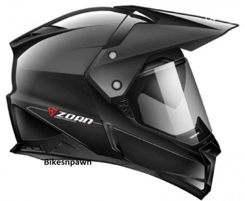 S Zoan Synchrony Dual Sport Gloss Black Motorcycle Helmet w/ Sun Shade 521-414