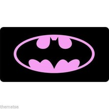 BATMAN PINK LOGO BLACK METAL LICENSE PLATE MADE IN USA - $29.69
