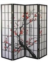 Legacy Decorator  Black 4-Panel Plum Blossom Screen Room Divider - €104,24 EUR