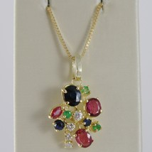 18K YELLOW GOLD FLOWER NECKLACE DIAMOND SAPPHIRE RUBY EMERALD MADE IN ITALY - $756.20