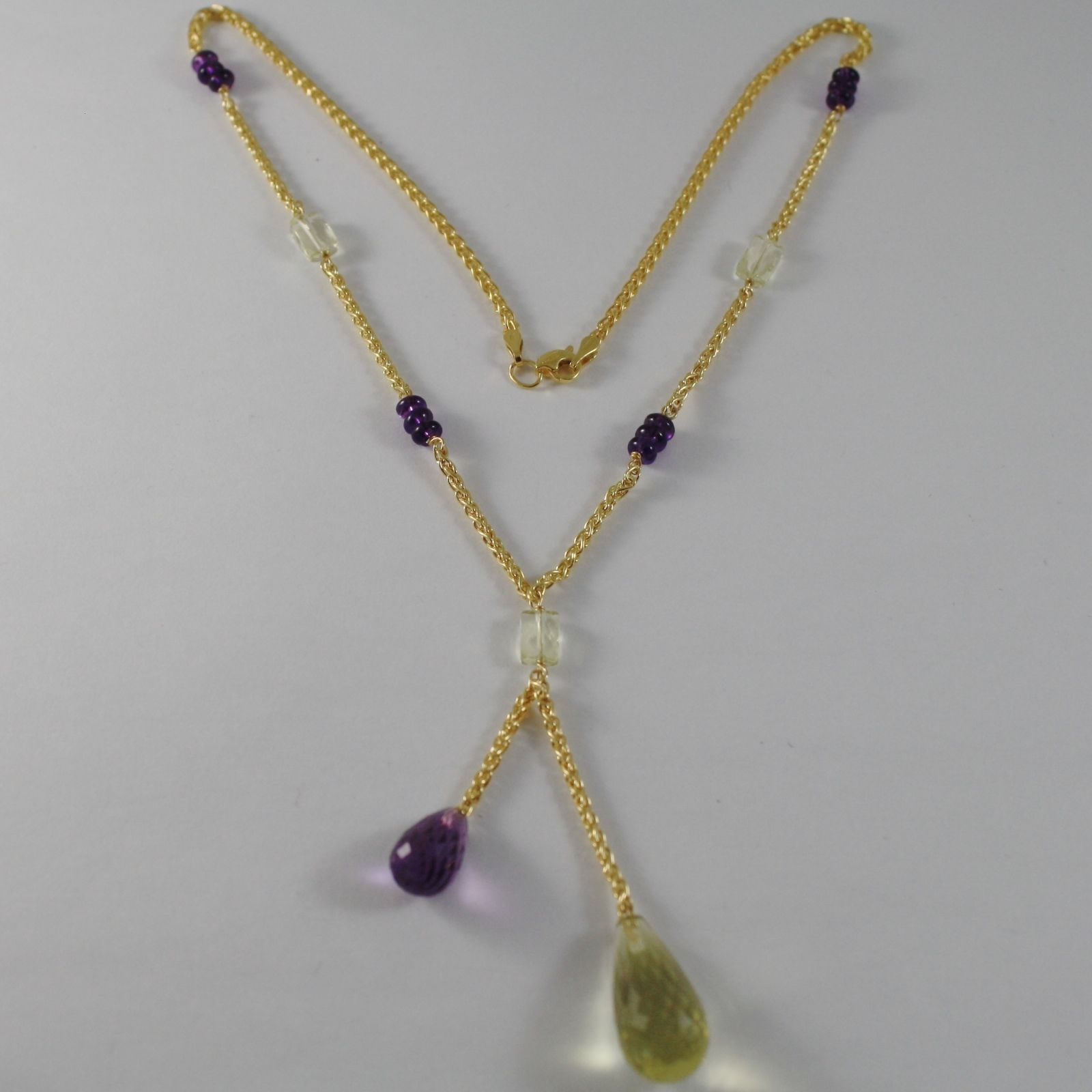 9K YELLOW GOLD NECKLACE WITH DROP CUSHION AMETHYST & LEMON QUARTZ MADE IN ITALY