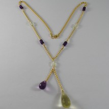 9K YELLOW GOLD NECKLACE WITH DROP CUSHION AMETHYST & LEMON QUARTZ MADE I... - $246.05
