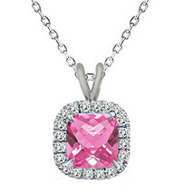 7mm Cushion Cut Pink Topaz Birth Gem stone Silver Halo Pendant Necklace 18 Chain - $48.44
