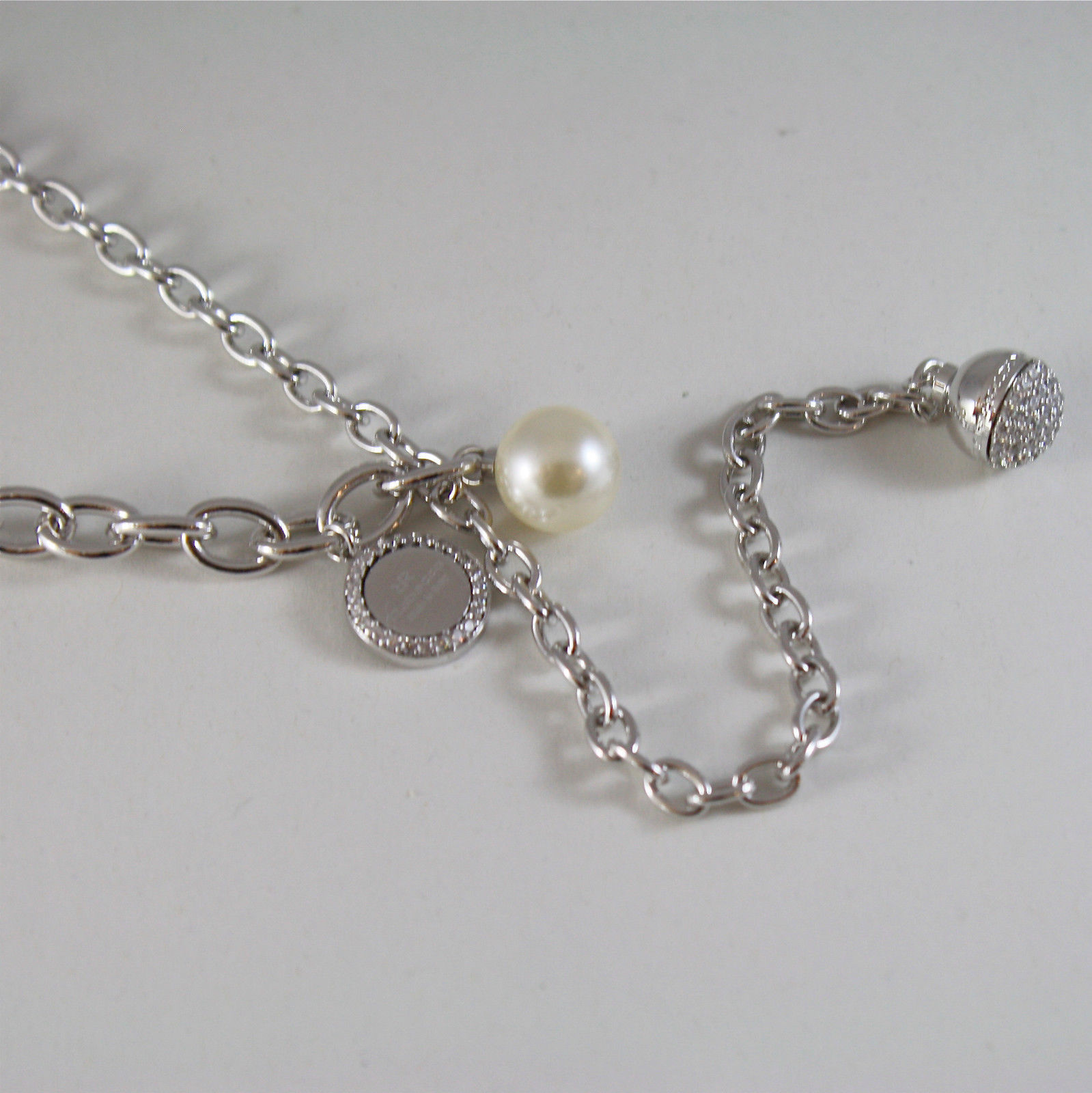 WHITE GOLD PLATED BRONZE REBECCA PEARL NECKLACE HOLLYWOOD BHOKBB24 MADE IN ITALY