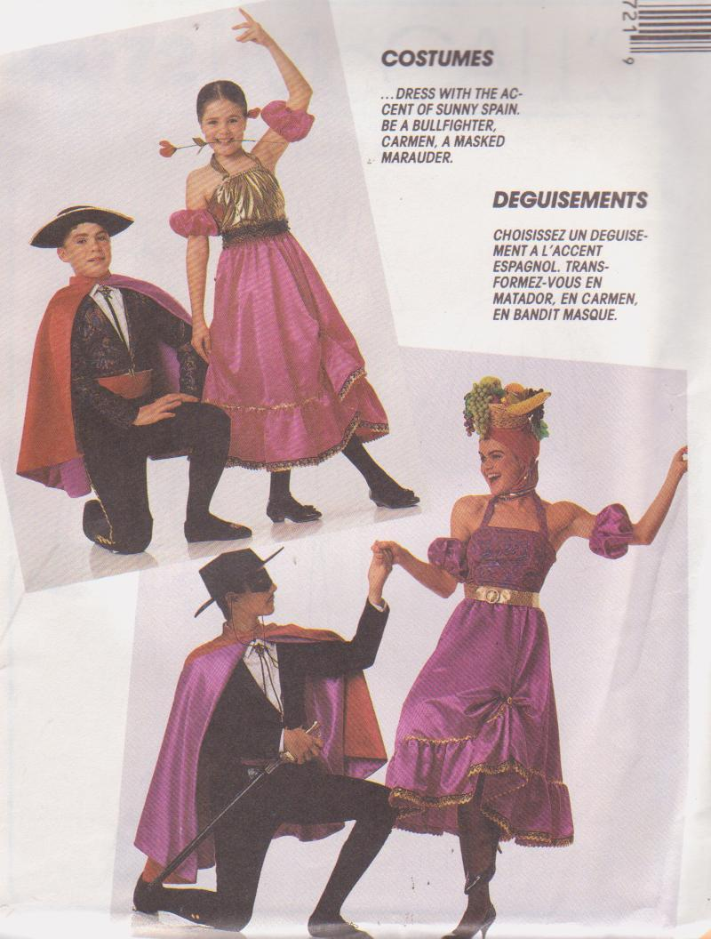 McCall's 5072 Child's Spanish Dancer Bullfighter Carmen Miranda Pattern Sz 7