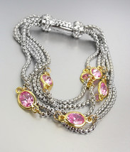 GORGEOUS Silver Box Chain Cables Pink CZ Crystals Magnetic Clasp Bracelet  - $26.99