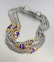 GORGEOUS Silver Box Chain Cables Purple CZ Crystals Magnetic Clasp Bracelet  - $26.99
