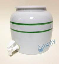 Water Crock Green Stripes Porcelain Dispenser Spigot Valve Faucet Aqua H... - $37.38