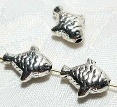 FISH 3D FINE PEWTER BEAD 14x12x6mm; HOLE 2mm