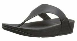 FitFlop Women's LULU Lizard-Print FLIP Flops Sandal 9 Black - $75.11
