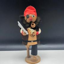 WOOD CARVED SMOKER Pirate buccaneer sword pistol figurine sculpture Germ... - $67.32