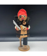 WOOD CARVED SMOKER Pirate buccaneer sword pistol figurine sculpture Germ... - $67.32