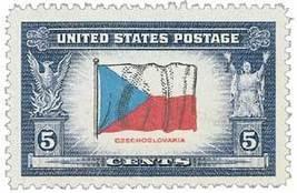 1943 5c Czechoslovakia Flag, Overrun Nations Wo... - $0.99