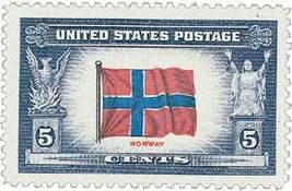 1943 5c Norway Flag, Overrun Nations, World War II Scott 911 Mint F/VF NH - $0.99