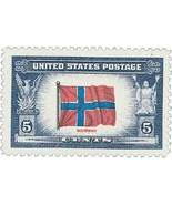 1943 5c Norway Flag, Overrun Nations, World War... - $0.99