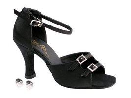 "Very Fine Ladies Women Ballroom Dance Shoes EK1620 Black Satin 2.5"" Heel (6M) - $64.95"