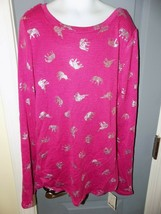 Mudd Fuchsia Knit Long Sleeve Elephant Shirt Size 12 Girl's NEW - £14.96 GBP