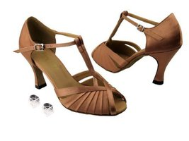 "Very Fine Ladies Women Ballroom Dance Shoes EK2707 Brown Satin 2.5"" Heel... - $64.95"