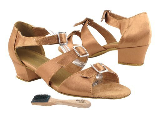"""Very Fine Ladies Women Ballroom Dance Shoes EK1679 Brown Satin 1.5"""" Heel (10M)"""