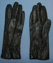 Womens Vtg Black Leather Grandoe Gloves Soft Acrylic Lining Sz S New - $18.99