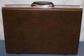 Vtg Classic Samsonite Hard Shell Briefcase Brown Attache Case Slim NO KEY - $27.51