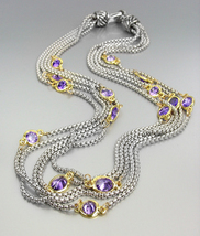 GORGEOUS Silver Box Chain Cables Purple CZ Crystals 5 Strands Magnetic N... - €39,17 EUR