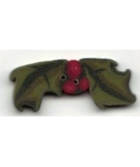 Small Holly Sprig nh1066s handmade clay button Just Another Button Company - $2.30