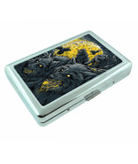 Hungry Wolf Moon Em1 Silver Metal Cigarette Case RFID Protection Wallet - $11.83
