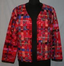 Chicos Jacket Blazer Sz 1 S 8 Madras Patchwork Silk Blend Bright Colorfu... - $20.32